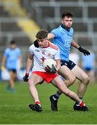 17 October 2020; Tiarnán Quinn of Tyrone in action against Seán Foran of Dublin during the EirGrid GAA Football All-Ireland U20 Championship Semi-Final match between Dublin and Tyrone at Kingspan Breffni Park in Cavan. Photo by David Fitzgerald/Sportsfile