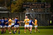 17 October 2020; Players from both sides exchange pleasantries after the game as the scoreboard reflects the final score of the Allianz Football League Division 4 Round 6 match between Wicklow and Antrim at the County Grounds in Aughrim, Wicklow. Photo by Ray McManus/Sportsfile