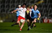17 October 2020; Darragh Canavan of Tyrone in action against Conor Tyrrell of Dublin during the EirGrid GAA Football All-Ireland U20 Championship Semi-Final match between Dublin and Tyrone at Kingspan Breffni Park in Cavan. Photo by David Fitzgerald/Sportsfile