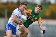17 October 2020; Conor McCarthy of Monaghan in action against Gavin White of Kerry during the Allianz Football League Division 1 Round 6 match between Monaghan and Kerry at Grattan Park in Inniskeen, Monaghan. Photo by Brendan Moran/Sportsfile