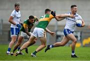 17 October 2020; Dessie Ward of Monaghan is tackled by Diarmuid O'Connor of Kerry during the Allianz Football League Division 1 Round 6 match between Monaghan and Kerry at Grattan Park in Inniskeen, Monaghan. Photo by Brendan Moran/Sportsfile