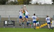 17 October 2020; Diarmuid O'Connor of Kerry contests a kickout with Karl O'Connell and Dessie Ward in front of empty terraces during the Allianz Football League Division 1 Round 6 match between Monaghan and Kerry at Grattan Park in Inniskeen, Monaghan. Photo by Brendan Moran/Sportsfile