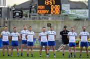 17 October 2020; The Monaghan team stand for Amhrán na bhFiann prior to the Allianz Football League Division 1 Round 6 match between Monaghan and Kerry at Grattan Park in Inniskeen, Monaghan. Photo by Brendan Moran/Sportsfile