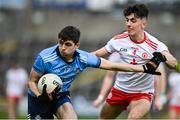 17 October 2020; Brian O'Leary of Dublin in action against Matthew McCusker of Tyrone during the EirGrid GAA Football All-Ireland U20 Championship Semi-Final match between Dublin and Tyrone at Kingspan Breffni Park in Cavan. Photo by David Fitzgerald/Sportsfile