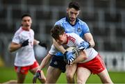 17 October 2020; Ryan Jones of Tyrone in action against Ciarán Archer of Dublin during the EirGrid GAA Football All-Ireland U20 Championship Semi-Final match between Dublin and Tyrone at Kingspan Breffni Park in Cavan. Photo by David Fitzgerald/Sportsfile