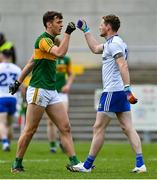 17 October 2020; David Clifford of Kerry, left, and Conor McManus of Monaghan after the Allianz Football League Division 1 Round 6 match between Monaghan and Kerry at Grattan Park in Inniskeen, Monaghan. Photo by Brendan Moran/Sportsfile