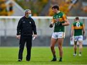 17 October 2020; Kerry manager Peter Keane and David Clifford of Kerry speak at half-time during the Allianz Football League Division 1 Round 6 match between Monaghan and Kerry at Grattan Park in Inniskeen, Monaghan. Photo by Brendan Moran/Sportsfile