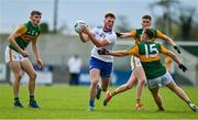 17 October 2020; Andrew Woods of Monaghan in action against Kerry players, from left, Diarmuid O'Connor, Ronan Buckley and Dara Moynihan during the Allianz Football League Division 1 Round 6 match between Monaghan and Kerry at Grattan Park in Inniskeen, Monaghan. Photo by Brendan Moran/Sportsfile