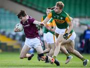 17 October 2020; Matthew Tierney of Galway in action against Alan Dineen and Dylan Casey of Kerry during the EirGrid GAA Football All-Ireland U20 Championship Semi-Final match between Kerry and Galway at the LIT Gaelic Grounds in Limerick. Photo by Matt Browne/Sportsfile