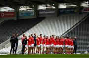 17 October 2020; Louth players stand for Amhrán na bhFiann prior to the Allianz Football League Division 3 Round 6 match between Cork and Louth at Páirc Ui Chaoimh in Cork. Photo by Harry Murphy/Sportsfile