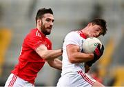 17 October 2020; Colm O'Callaghan of Cork in action against Patrick Reilly of Louth during the Allianz Football League Division 3 Round 6 match between Cork and Louth at Páirc Ui Chaoimh in Cork. Photo by Harry Murphy/Sportsfile