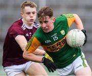 17 October 2020; Ruaidhri O Beaglaoich of Kerry in action against Owen Fitzgerald of Galway during the EirGrid GAA Football All-Ireland U20 Championship Semi-Final match between Kerry and Galway at the LIT Gaelic Grounds in Limerick. Photo by Matt Browne/Sportsfile