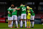 17 October 2020; Cork City players huddle ahead of the SSE Airtricity League Premier Division match between Cork City and Waterford at Turners Cross in Cork. Photo by Eóin Noonan/Sportsfile