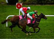 17 October 2020; Future Proof, right, with Maxine O'Sullivan up, passes the post ahead of second place Call Me Dolly, with Nikita Amelia Kane up, to win the Breast Cancer Ireland Handicap at Leopardstown Racecourse in Dublin. Photo by Seb Daly/Sportsfile