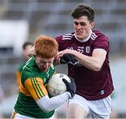 17 October 2020; Darragh Lynch of Kerry in action against Macdara Geraghty of Galway during the EirGrid GAA Football All-Ireland U20 Championship Semi-Final match between Kerry and Galway at the LIT Gaelic Grounds in Limerick. Photo by Matt Browne/Sportsfile