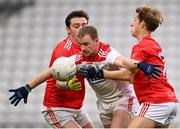 17 October 2020; Mattie Taylor of Cork in action against Emmet Carolan, left, and Anthony Williams of Louth during the Allianz Football League Division 3 Round 6 match between Cork and Louth at Páirc Ui Chaoimh in Cork. Photo by Harry Murphy/Sportsfile