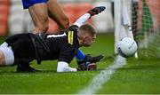 17 October 2020; Armagh goalkeeper Blaine Hughes tries to keep the ball in play during the Allianz Football League Division 2 Round 6 match between Armagh and Roscommon at the Athletic Grounds in Armagh. Photo by Piaras Ó Mídheach/Sportsfile