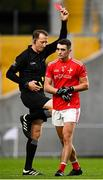 17 October 2020; Emmet Carolan of Louth is shown a red card by referee Seamus Mulhare during the Allianz Football League Division 3 Round 6 match between Cork and Louth at Páirc Ui Chaoimh in Cork. Photo by Harry Murphy/Sportsfile