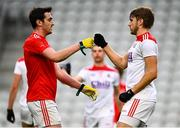 17 October 2020; Tommy Durnin of Louth and Ian MaGuire of Cork fist bump following the Allianz Football League Division 3 Round 6 match between Cork and Louth at Páirc Ui Chaoimh in Cork. Photo by Harry Murphy/Sportsfile