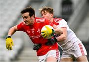 17 October 2020; Tommy Durnin of Louth in action against Sean Meehan of Cork during the Allianz Football League Division 3 Round 6 match between Cork and Louth at Páirc Ui Chaoimh in Cork. Photo by Harry Murphy/Sportsfile
