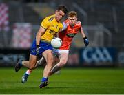 17 October 2020; Seán Mullooly of Roscommon is tackled by Conor Turbitt of Armagh during the Allianz Football League Division 2 Round 6 match between Armagh and Roscommon at the Athletic Grounds in Armagh. Photo by Piaras Ó Mídheach/Sportsfile
