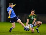 17 October 2020; Bryan Menton of Meath in action against Cian Murphy of Dublin during the Allianz Football League Division 1 Round 6 match between Dublin and Meath at Parnell Park in Dublin. Photo by Brendan Moran/Sportsfile