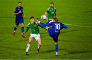 17 October 2020; Cian Coleman of Cork City in action against Will Longbottom of Waterford during the SSE Airtricity League Premier Division match between Cork City and Waterford at Turners Cross in Cork. Photo by Eóin Noonan/Sportsfile