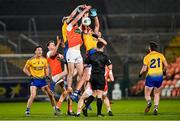 17 October 2020; Jarly Óg Burns of Armagh and Cathal Compton, left, and Enda Smith of Roscommon contest possession in a crowded midfield during the Allianz Football League Division 2 Round 6 match between Armagh and Roscommon at the Athletic Grounds in Armagh. Photo by Piaras Ó Mídheach/Sportsfile