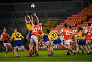 17 October 2020; Shane Killoran of Roscommon gathers possession ahead of Niall Grimley of Armagh in a crowded midfield during the Allianz Football League Division 2 Round 6 match between Armagh and Roscommon at the Athletic Grounds in Armagh. Photo by Piaras Ó Mídheach/Sportsfile