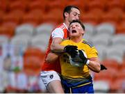 17 October 2020; Conor Cox of Roscommon is fouled for a penalty by Ryan Kennedy of Armagh during the Allianz Football League Division 2 Round 6 match between Armagh and Roscommon at the Athletic Grounds in Armagh. Photo by Piaras Ó Mídheach/Sportsfile