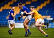 17 October 2020; Dean Healy of Wicklow in action against Peter Healy of Antrim during the Allianz Football League Division 4 Round 6 match between Wicklow and Antrim at the County Grounds in Aughrim, Wicklow. Photo by Ray McManus/Sportsfile