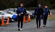 17 October 2020; Mark Jackson, left, Pat Burke and Eoin Murtagh, right, of Wicklow arrive for the Allianz Football League Division 4 Round 6 match between Wicklow and Antrim at the County Grounds in Aughrim, Wicklow. Photo by Ray McManus/Sportsfile