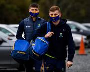 17 October 2020; Saoirse Kearon, left, and Pat Darragh Fitzgerald of Wicklow arrive for the Allianz Football League Division 4 Round 6 match between Wicklow and Antrim at the County Grounds in Aughrim, Wicklow. Photo by Ray McManus/Sportsfile