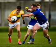17 October 2020; Patrick McBride of Antrim in action against Eoin Murtagh of Wicklow during the Allianz Football League Division 4 Round 6 match between Wicklow and Antrim at the County Grounds in Aughrim, Wicklow. Photo by Ray McManus/Sportsfile