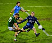 17 October 2020; Dublin goalkeeper Stephen Cluxton makes a save from Barry Dardis of Meath during the Allianz Football League Division 1 Round 6 match between Dublin and Meath at Parnell Park in Dublin. Photo by Brendan Moran/Sportsfile