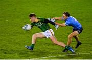 17 October 2020; Thomas O'Reilly of Meath in action against Michael Fitzsimons of Dublin during the Allianz Football League Division 1 Round 6 match between Dublin and Meath at Parnell Park in Dublin. Photo by Brendan Moran/Sportsfile
