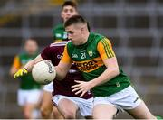 17 October 2020; Eddie Horan of Kerry in action against Cian Monahan of Galway during the EirGrid GAA Football All-Ireland U20 Championship Semi-Final match between Kerry and Galway at the LIT Gaelic Grounds in Limerick. Photo by Matt Browne/Sportsfile