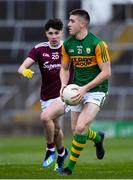 17 October 2020; Eddie Horan of Kerry in action against Jason Reilly of Galway during the EirGrid GAA Football All-Ireland U20 Championship Semi-Final match between Kerry and Galway at the LIT Gaelic Grounds in Limerick. Photo by Matt Browne/Sportsfile