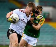 17 October 2020; Conor Flaherty of Galway in action against Jack Kennelly of Kerry during the EirGrid GAA Football All-Ireland U20 Championship Semi-Final match between Kerry and Galway at the LIT Gaelic Grounds in Limerick. Photo by Matt Browne/Sportsfile