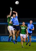 17 October 2020; Cathal Hickey of Meath and Niall Scully of Dublin contest a kickout during the Allianz Football League Division 1 Round 6 match between Dublin and Meath at Parnell Park in Dublin. Photo by Brendan Moran/Sportsfile