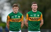 17 October 2020; Ronan Buckley, right and Gavin White of Kerry stand for Amhrán na bhFiann prior to the Allianz Football League Division 1 Round 6 match between Monaghan and Kerry at Grattan Park in Inniskeen, Monaghan. Photo by Brendan Moran/Sportsfile