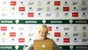 18 October 2020; Head coach Vera Pauw during a virtual Republic of Ireland press conference at her team's training base in Duisburg, Germany. Photo by Stephen McCarthy/Sportsfile