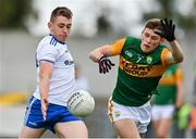 17 October 2020; Michael Bannigan of Monaghan in action against Gavin White of Kerry during the Allianz Football League Division 1 Round 6 match between Monaghan and Kerry at Grattan Park in Inniskeen, Monaghan. Photo by Brendan Moran/Sportsfile