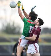 18 October 2020; Mark Moran of Mayo and Johnny Duane of Galway during the Allianz Football League Division 1 Round 6 match between Galway and Mayo at Tuam Stadium in Tuam, Galway. Photo by Ramsey Cardy/Sportsfile