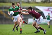 18 October 2020; Matthew Ruane of Mayo in action against Cein D'árcy of Galway during the Allianz Football League Division 1 Round 6 match between Galway and Mayo at Tuam Stadium in Tuam, Galway. Photo by Ramsey Cardy/Sportsfile
