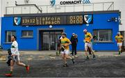 18 October 2020; Leitrim players, from left, Danny Byrne, David McGovern, Colm Moreton and Conor Beirne run out prior to the Allianz Hurling League Division 3B Final match between Sligo and Leitrim at the Connacht Centre of Excellence in Bekan, Mayo. Photo by Harry Murphy/Sportsfile