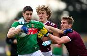 18 October 2020; Lee Keegan of Mayo is tackled by Conor Campbell, left, and Gary O'Donnell of Galway during the Allianz Football League Division 1 Round 6 match between Galway and Mayo at Tuam Stadium in Tuam, Galway. Photo by Ramsey Cardy/Sportsfile