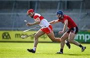 18 October 2020; John Mullan of Derry in action against Conor Woods of Down during the Allianz Hurling League Division 2B Final match between Down and Derry at the Athletic Grounds in Armagh. Photo by Sam Barnes/Sportsfile