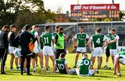 18 October 2020; Fermanagh manager Ryan McMenamin speaks to his players after the Allianz Football League Division 2 Round 6 match between Clare and Fermanagh at Cusack Park in Ennis, Clare. Photo by Diarmuid Greene/Sportsfile