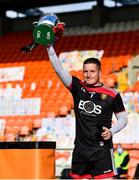 18 October 2020; Stephen Keith of Down lifts the cup following the Allianz Hurling League Division 2B Final match between Down and Derry at the Athletic Grounds in Armagh. Photo by Sam Barnes/Sportsfile